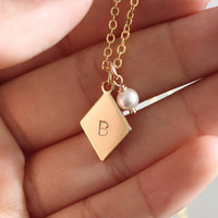 Gold Initial Necklace, Custom Initial Necklace, Initial Charm Necklace, Mom Sister Best Friend Gifts