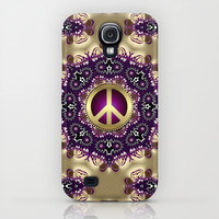 Bohemian Gold Peace Symbol iPhone & iPod Case by Webgrrl