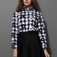 Floral Embroidery Check Shirt in Black
