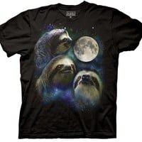 Three Wolf Moon Shirt Parody - Three Sloth Moon Shirt - 100% Cotton T-Shirt Tee