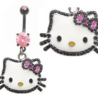 Pretty Pink & black gem Hello Kitty Head dangle Belly button navel Ring piercing bar body jewelry 14g