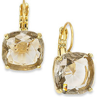 kate spade new york Earrings, 12k Gold-Plated Black Diamond Crystal Square Leverback Earrings