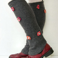 Gray recycled cashmere leg warmers spats shoe covers with red pink crocheted flowers and buttons eco friendly upcycled women for her
