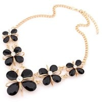 Graceful Faux Stone Flower Bib Necklace