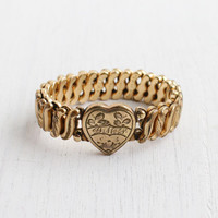 Vintage Gold Filled Monogrammed Heart Expansion Bracelet - Mid Century WWII 1940s Stretch Sweetheart Jewelry / Carmen - D.F.B. Co.