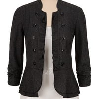 textured military blazer with ruffled edge