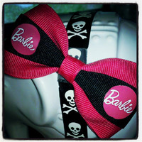 Barbie Girl: Hot Pink and Black Barbie Inspired Hair Bow
