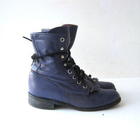 80s purple leather Justin boots. lace up western ankle boots. women's 5