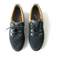 vintage black suede oxfords. low top ankle boots. women's 7.5