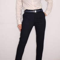 Skinny Pants Slim fit Trousers in Navy Blue faux suede for Women