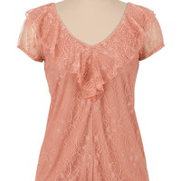 lace v-neck ruffle front top