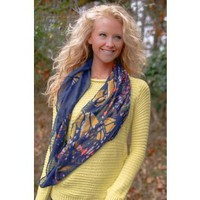 You Give Me Butterflies Scarf-Navy