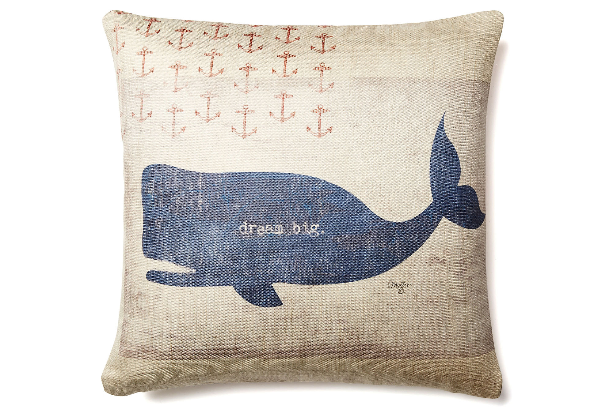 Quot Dream Big Quot Whale 20x20 Pillow Blue From One Kings Lane