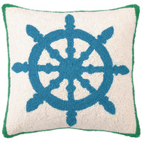 Captain's Wheel 18x18 Wool Pillow, Blue