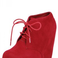 Camilla1 Lace Up Wedge Booties RED