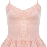 Blush Peplum Jacquard Cami - Tops - Clothing