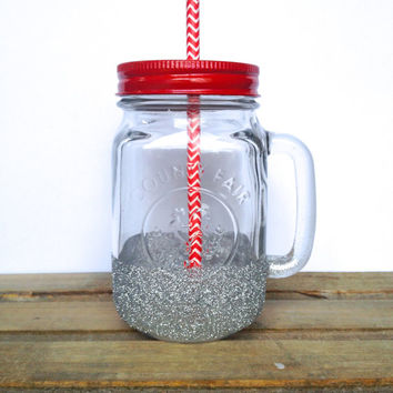 Mason Jar Tumbler - Silver Glitter Mason Jar Tumbler - teacher gift, co-worker gift, friend gift, stocking stuffer, Christmas gift