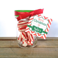 Personalized Christmas Mason Jar Gift or Favor - Set of 4 Teacher Gift, Co-Worker Gift, Friend Gift, Neighbor Gift