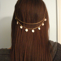 Boho Beaded Gold Bronze White Hair Chain Hair Jewelry Kim Kardashian Hair Clip