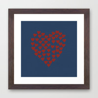 Hearts Heart Red on Navy Framed Art Print by Project M