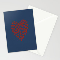 Hearts Heart Red on Navy Stationery Cards by Project M
