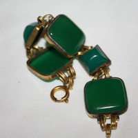 Art Deco Bracelet Brass Chrysoprase Cabochon Glass Vintage 1920s Jewelry