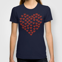 Hearts Heart Red on Navy T-shirt by Project M