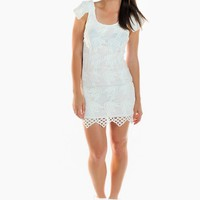 White Lace Bodycon Dress with Cuff Sleeves & Low Back