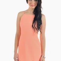 Peach High Neck Sleeveless Dress with Front Slits