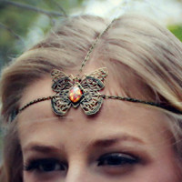 butterfly pink opal chain head piece