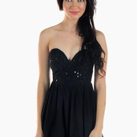 Black Sequin Sweetheart Neckline Playsuit