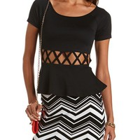 LATTICE WAIST PEPLUM TOP