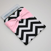 iPad Case - Android - Microsoft Tablet Sleeve - Black and White Chevron Medium Pink Bow - Padded