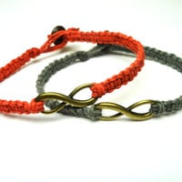 Infinity Bracelets, Set of Two, Red and Grey Macrame Hemp Jewelry, Brass Tone Infinity Charms