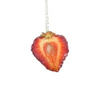 Real Strawberry Necklace : Fruit Jewelry