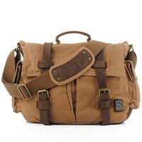 Vintage leather and canvas messenger bags for laptop by Ubackpack