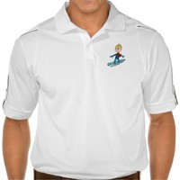 Snowboarding boy cartoon polo shirt