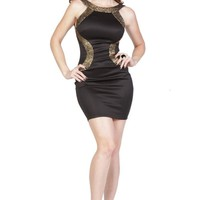 Black & Gold Trim Open Back Bodycon Dress