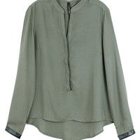 OLIVE LONG SLEEVE VEGAN LEATHER TRIM MANDARIN COLLAR HIGH-LOW BLOUSE at Miss Dandy | Miss Dandy