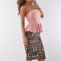 Light Pink Strapless Peplum Top