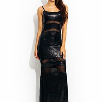 Sequined-Mesh-Inset-Maxi-Dress BLACK - GoJane.com