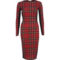 RED TARTAN COLOUR BLOCK COLUMN DRESS