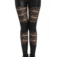 ROMWE | ROMWE Faux Leather Panel Lace Black Leggings, The Latest Street Fashion