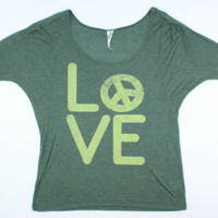 Free People Love and Peace Scoop Neck T-Shirt - Misses Small