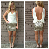 Gold & Ivory Serina Open Back Dress