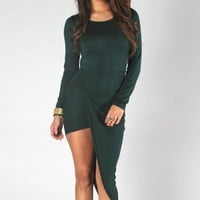 Emerald Green Long Sleeve Twist Front Maxi Dress