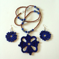 The Four Winds Sapphire Crochet Necklace Set