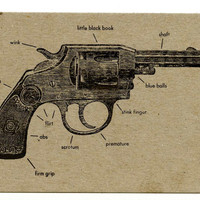 3 Anatomically Masculine Revolver Letterpress Postcards