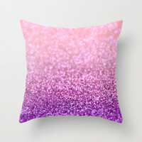 Lilacs in the Snow Throw Pillow by Lisa Argyropoulos