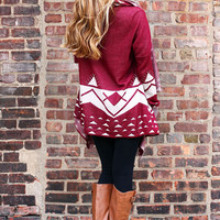 Thankful Beginnings Cardi - Burgundy